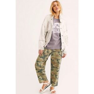 Free People Camo Jeans High Rise Remy Wide Leg 26